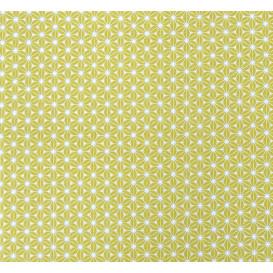 tissu coton géométrique jaune moutarde largeur 150cm x 50cm