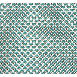 tissu coton éventail bleu canard largeur 150cm x 50cm