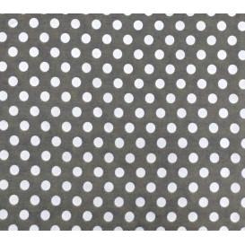 coupon 0,34mx1,50m tissu coton gris foncé pois 9mm