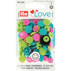 21 boutons pression prym love mix fleur 13,6mm