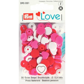 30 boutons pression prym love mix coeur 12,4mm