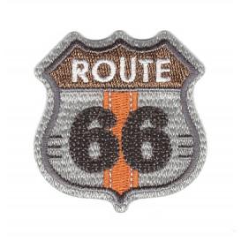 écusson route 66 gris thermocollant