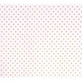 coupon coton blanc pois beige 2mm