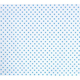 coupon coton blanc pois bleu 2mm
