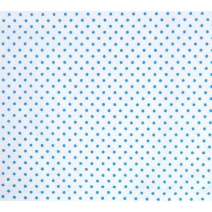 coupon coton blanc pois bleu 2mm