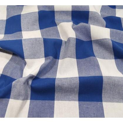 coupon coton vichy 54mm bleu