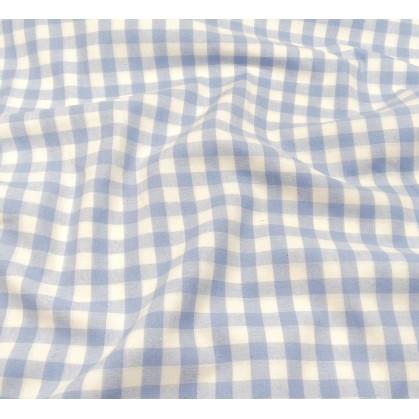 coupon coton vichy 10mm bleu ciel