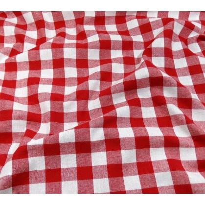 coupon coton vichy 18mm rouge