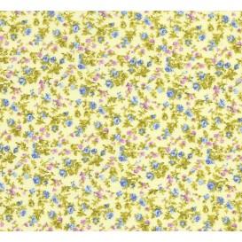 tissu coton jaune fleurs bleu/violet largeur 150cm x 50cm