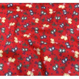 tissu noël rouge houx et moufles largeur 150cm x 50cm