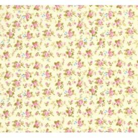 tissu coton écru fleurs rose/bleu largeur 150cm x 50cm
