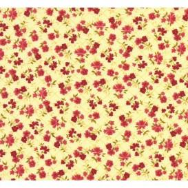 tissu coton jaune fleurs rouge carreaux largeur 150cm x 50cm
