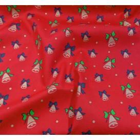 tissu noël rouge cloches doré largeur 150cm x 50cm
