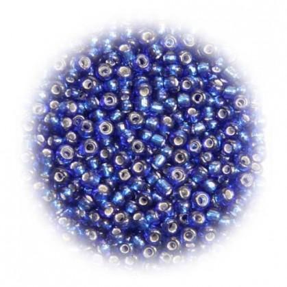 perles de verre tranparent bleu royal 15 gr