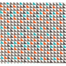 tissu popeline triangle orange trurquoise gris largeur 145cm x 50cm