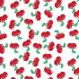tissu popeline blanc cerises largeur 145cm x 50cm