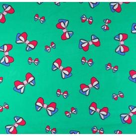 tissu popeline vert neouds largeur 145cm x 50cm