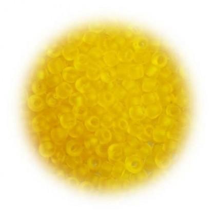 perles de verre mate jaune 15 gr