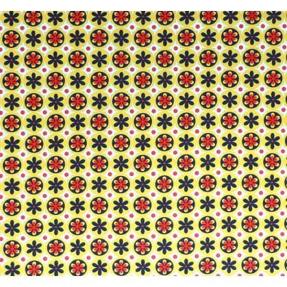 coupon stenzo popeline jaune fleurs