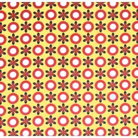 coupon stenzo popeline jaune fleurs et ronds
