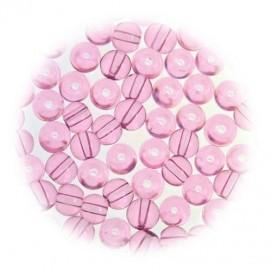 perles de verre translucide rose 5mm