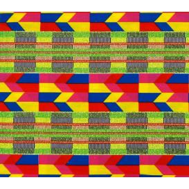 tissu africain wax brillant formes géométriques largeur 113cm x 50cm