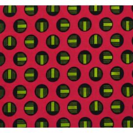 tissu africain wax ronds verts largeur 113cm x 50cm