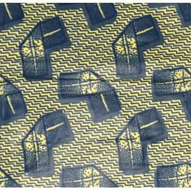 tissu africain wax écru forme bleue largeur 113cm x 50cm
