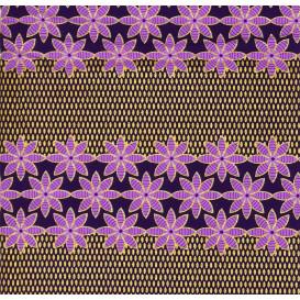 tissu africain wax brillant fleurs violet largeur 113cm x 50cm