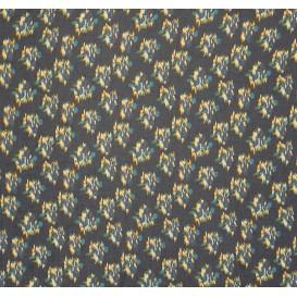 tissu voile polyester fleurs bleues largeur 150cm x 50cm