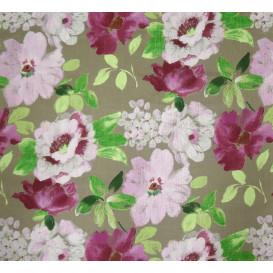 tissu lin fleurs violettes largeur 180cm x 50cm
