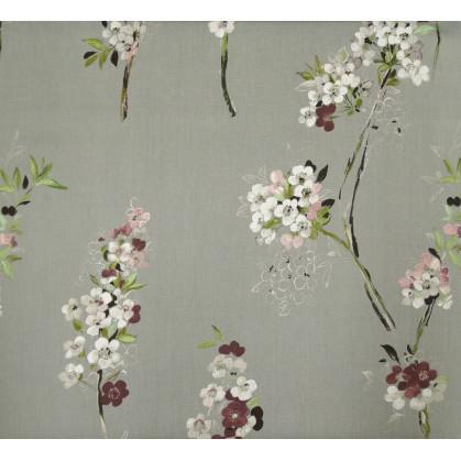 tissu lin gris fleurs largeur 180cm x 50cm