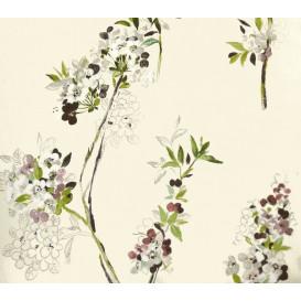 tissu lin écru fleurs largeur 180cm x 50cm