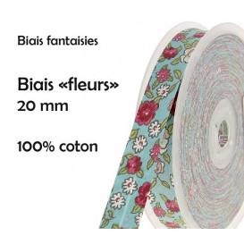 coupon 3m biais fleurs 20mm (5 coloris)