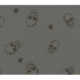 tissu jersey gris tête de mort largeur 145cm x 50cm