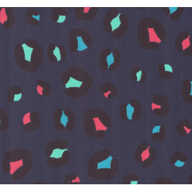 tissu jersey bleu léopard multicolore largeur 145cm x 50cm