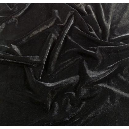 tissu velours extensible noir largeur 140cm x 50cm