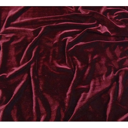 tissu velours extensible bordeaux largeur 140cm x 50cm
