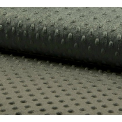 tissu velours minky pois gris foncé largeur 140cm x 50cm