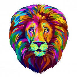 transfert vêtement lion coloré thermocollant