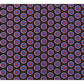 tissu viscose noir forme rose largeur 140cm x 50cm