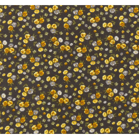 tissu viscose marron fleur jaune largeur 140cm x 50cm