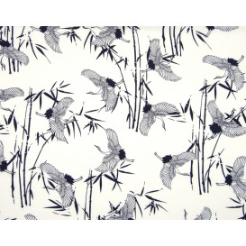 tissu viscose blanc grue chinoise largeur 140cm x 50cm