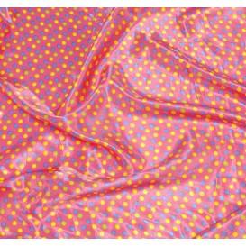 tissu satin rose pois 8mm largeur 148cm x 50cm