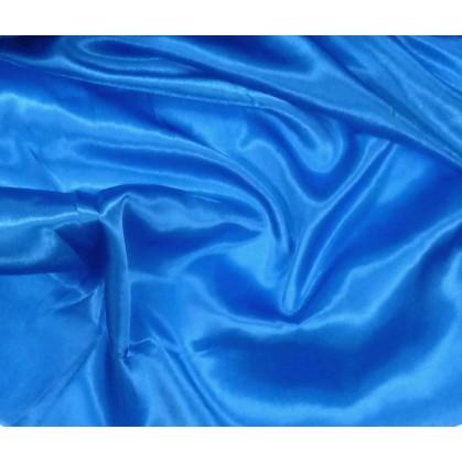 tissu satin bleu largeur 140cm au mètre