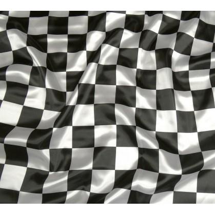 tissu satin carnaval damier noir et blanc largeur 143cm x 50cm