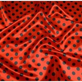 tissu satin carnaval rouge pois 2,3cm noir largeur 143cm x 50cm