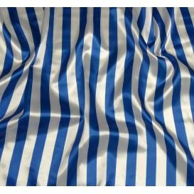 tissu satin carnaval rayures bleu et blanc largeur 143cm x 50cm