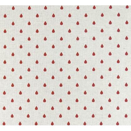 tissu aspect lin goutte rouge 8mm largeur 150cm x 50cm