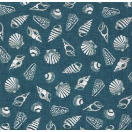 tissu patchwork makower coquillage bleu largeur 110cm x 25cm